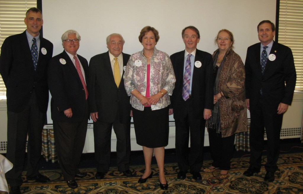 Past Presidents Bill Holm, Howard Matson, Charlie Blaisdell, Peter Mosse, Esther Dyer and Jeff Kelly welcoming newly elected International President Ellen Parke.