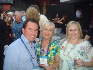 C. Peter Byrne with UK Chapter President Helen Jenkins and business partner Jayne White at the Australian welcome party.