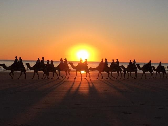"BEST OVERALL Suzanne Frye, ""Sunset Camel Ride in Broome."" Broome is on the coast of Western Australia. They have dramatic sunsets there, and it is popular to take a camel ride at sunset. Date- July 29, 2015"