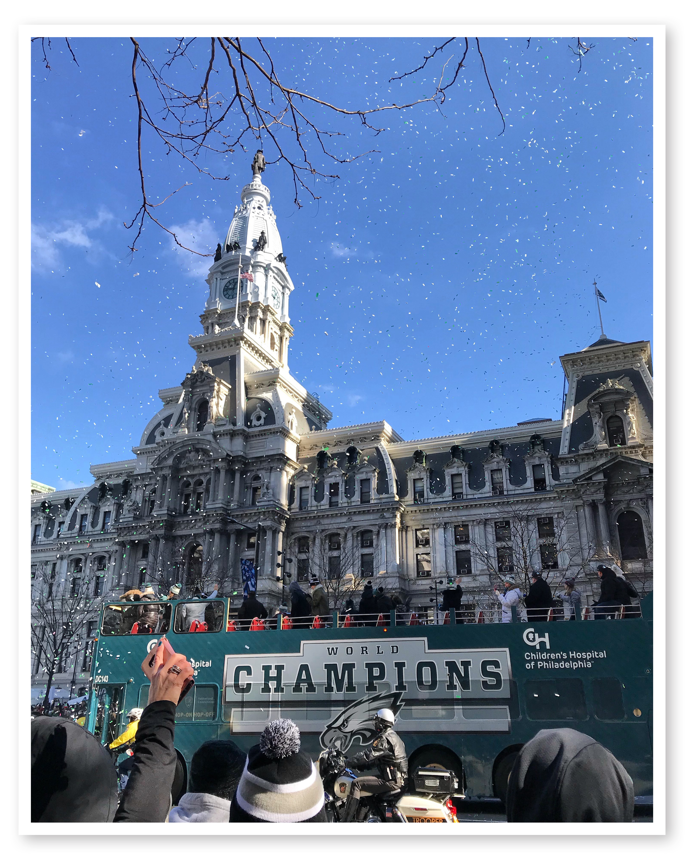 Okay, Circumnavigators, please indulge this writer, a Philadelphia native and long-suffering Eagles fan. This shot of the Super Bowl victory parade was taken by Katie Koontz.